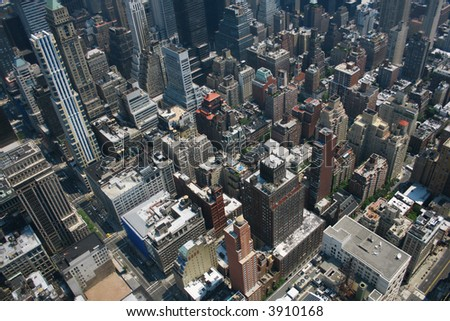 Aerial view from the Empire State Building of New York Sky line and architecture