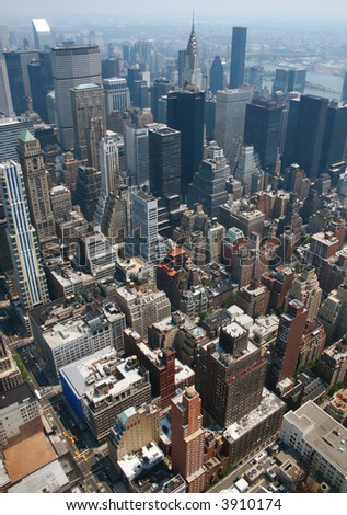Aerial view from the Empire State Building of New York Sky line and architecture, view towards upper manhattan