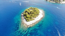 Aerial view from the Hvar island, Croatia with many boats around and beautiful color from the Adriatic Sea