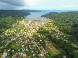 Aerial view from the Santo Antonio city in Prince Island with the sea as background. Príncipe is the world's first Biosphere Reserve by UNESCO