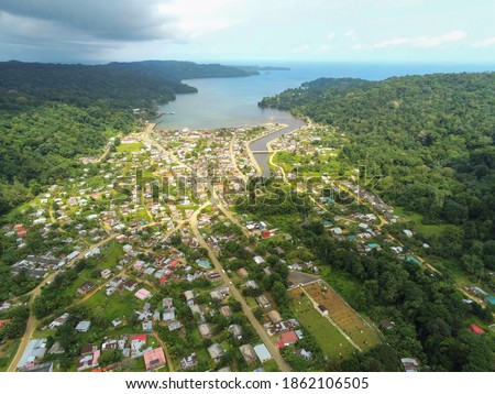 Aerial view from the Santo Antonio city in Prince Island with the sea as background. Príncipe is the world's first Biosphere Reserve by UNESCO ストックフォト ©