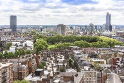 Aerial View from Westminster Cathedral on Roofs and Houses of London, UK.