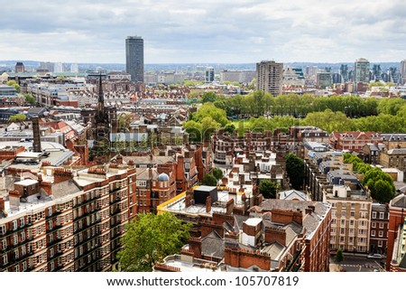 Aerial View from Westminster Cathedral on Roofs and Houses of London, United Kingdom