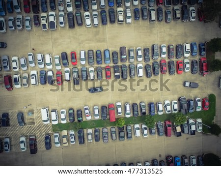 aerial view full cars at large...