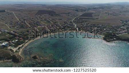 Aerial View/General view of 'Guneyli' holiday village in the Saros Bay,Canakkale-TURKEY Stok fotoğraf ©