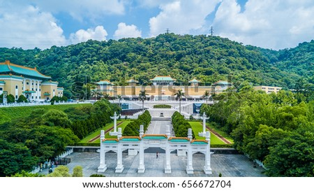 Aerial view Gugong National Palace Museum in Taipei, Taiwan.