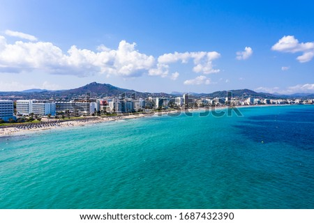 Photo of  Aerial view, helicopter flight over the bay of Cala Millor and Cala Bona, Manacor region, Mallorca, Ballearen, Spain