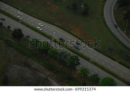 aerial view highway road