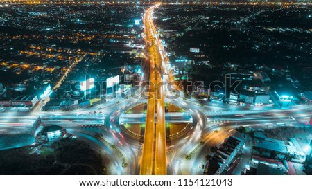Aerial view highway road intersection for transportation or traffic background. #1154121043