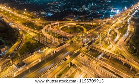 Aerial view highway road intersection for transportation or traffic background. #1155709915