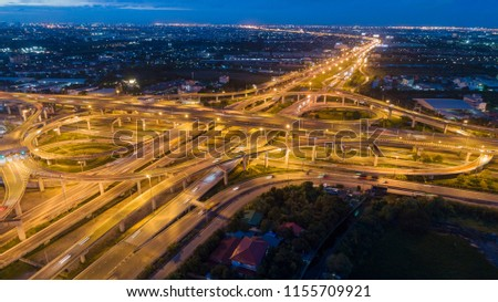Aerial view highway road intersection for transportation or traffic background. #1155709921