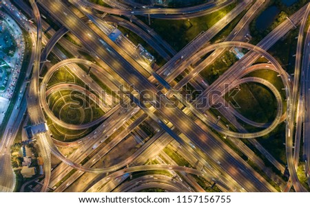 Aerial view highway road intersection for transportation or traffic background. #1157156755