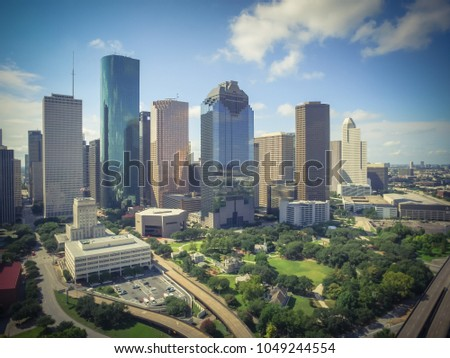 aerial view houston downtown...