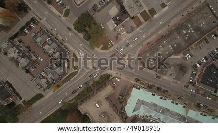 Aerial view image of an urban intersection. #749018935