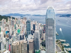 Aerial view in Central, Hong Kong