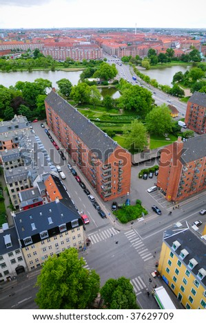 Aerial view in City Copenhagen