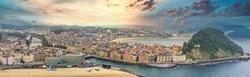 Aerial view in San Sebastian, coastal city of Spain. Drone Photo