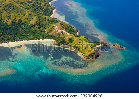 Stock Photo Aerial view, Komodo Island, Komodo National Park, Indonesia, Indian Ocean, Asia