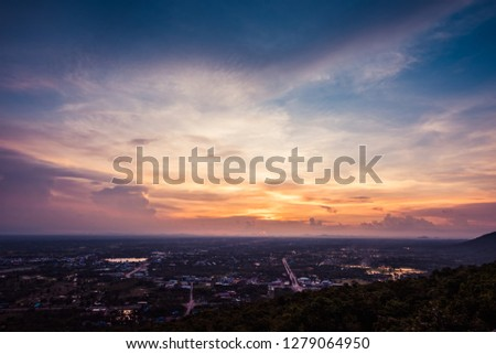 Aerial view, landscape of tree and city from the top of mountain #1279064950
