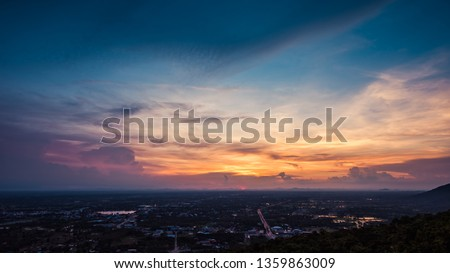 Aerial view, landscape of tree and city from the top of mountain #1359863009