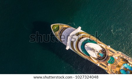Aerial view large cruise ship at sea, Passenger cruise ship vessel, sailing across the Gulf of Thailand.