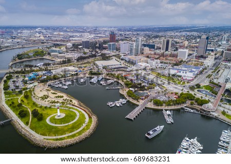 Aerial view Long Beach Pike, California #689683231