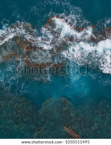 Aerial view looking down on coral reefs off the coast of Bermuda #1050551495