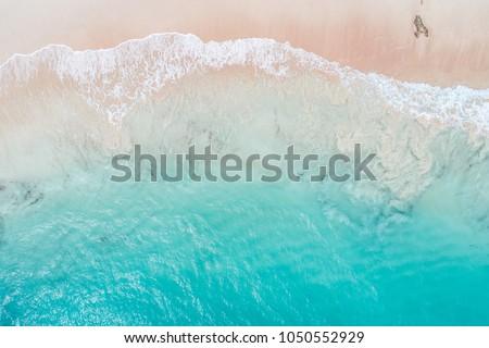 Aerial view looking down on Pink Beach in Bermuda Сток-фото ©
