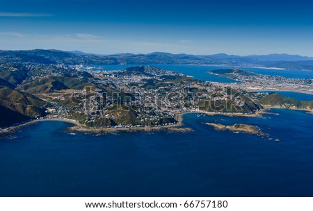 Aerial view looking from the south over Wellington, New Zealand