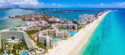 Aerial view looking north of the Hotel Zone (Zona Hotelera) and the beautiful beaches of Cancún, Mexico