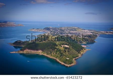Aerial view looking south over Miramar Peninsular, Wellington, New Zealand