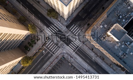 Photo of Aerial view looking straight down on to Los Angeles' city streets.