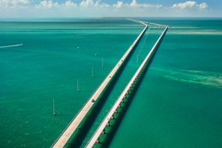 aerial view looking west along the seven mile bridge of US1 to the florida keys