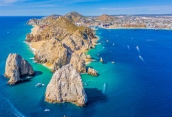 Aerial view looking west of Land's End, Cabo San Lucas, Mexico, Baja California Sur, where the Sea of Cortez meets the Pacific Ocean