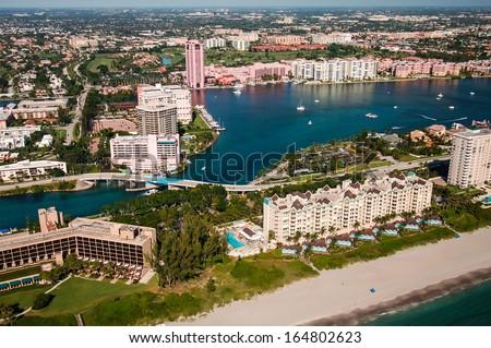 aerial view looking west over boca raton florida beach and intracoastal waterway