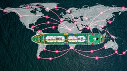 Aerial view LPG tanker ship, Global business liquefied petroleum gas form refinery petrochemical industry, Oversea commercial trade logistic and transportation worldwide by tanker vessel concept.