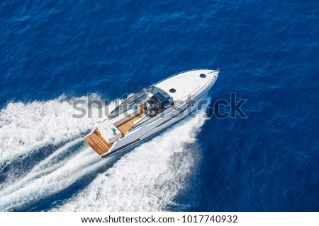 aerial view luxury motor boat #1017740932