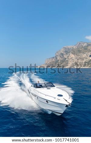 aerial view luxury motor boat #1017741001