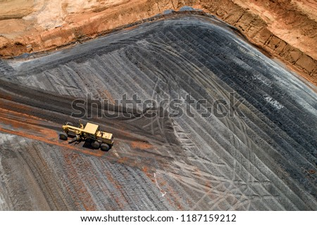 Aerial view motor Grader Civil Construction improvement base road work
