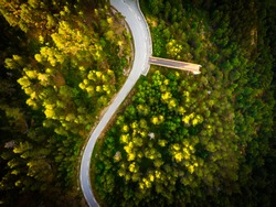 Aerial view. Mountains green landscape with Stegastein viewpoint and road Aurlandsfjellet, Norway Scandinavia. Tourism vacation and travel.