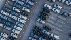Aerial view new cars parking for sale stock lot row, New cars dealer inventory import export business commercial global, Business automobile and automotive industry distribution logistic and transport