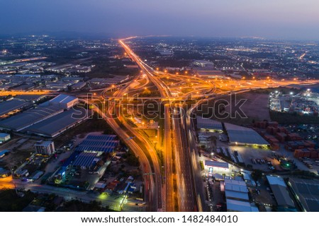 Aerial view Night Expressway, toll way, highway, roads in the city. transportation traffic. #1482484010