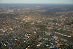 Aerial view north west York University with highway 407 and 400 Toronto and Vaughan