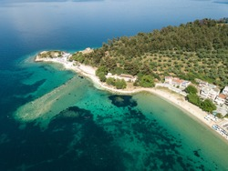 Aerial view of a beach near Limenas, Thassos, Greece.