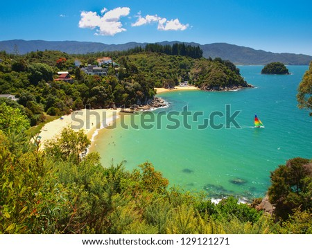 Aerial view of a Beautiful Bay with Sandy Beach near Nelson, New Zealand
