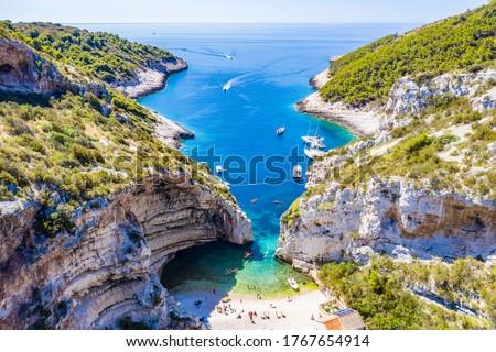 Aerial view of a beautiful beach Stiniva on the island Vis, Croatia Stock photo ©