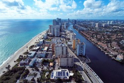 Aerial view of a beautiful day in Hollywood Beach, Miami, United States.