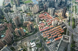 Aerial view of a big city ( Shanghai - China )