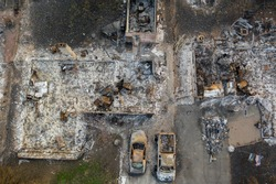 Aerial view of a burned down community and vehicles from the 2020 Almeda forest fire in Southern Oregon, USA