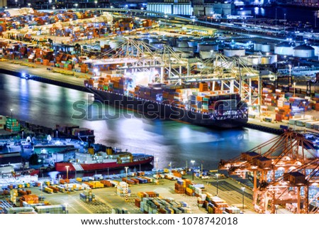 Aerial view of a cargo ship loaded in the Seattle harbor container terminal Zdjęcia stock ©